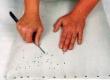hobujõhv täidise korrigeerimine nõela abil läbi kanga.