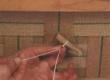 mööbli pealiskangas fikseeritud sügav volditud nööpide fikseerimine, sidumine põhja punutise külge