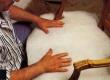 seotud keerdvedrude ja mererohu, mereheinapadja  polstri katmine vatiiniga