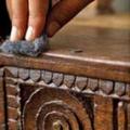 mööblidetaili viimistluse lihvimine trollullaga nr.0( steel wool)