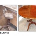 19.sajandist pärit laud enne ja pärast restaureerimist.