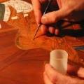 taastatud intarsia, mosaiigiosade toonimine.