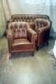 Chesterfeild ( kabinet) tüüpi diivan ja kaks tugitooli. Peale restaureerimist.