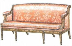Pehmustettu klassisistinen sohva