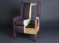 Nykyaikaisen nojatuolin perustusten läpileikkaus